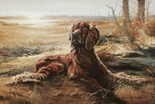 A Friend for All Seasons fine art print by Marian Anderson featuring and Irish Setter dog.
