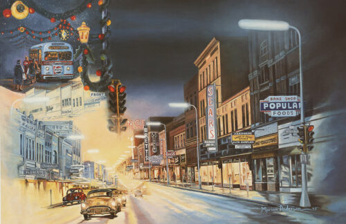 Fine art print, Closing Time, by Marian Anderson features Mankato's Front Street