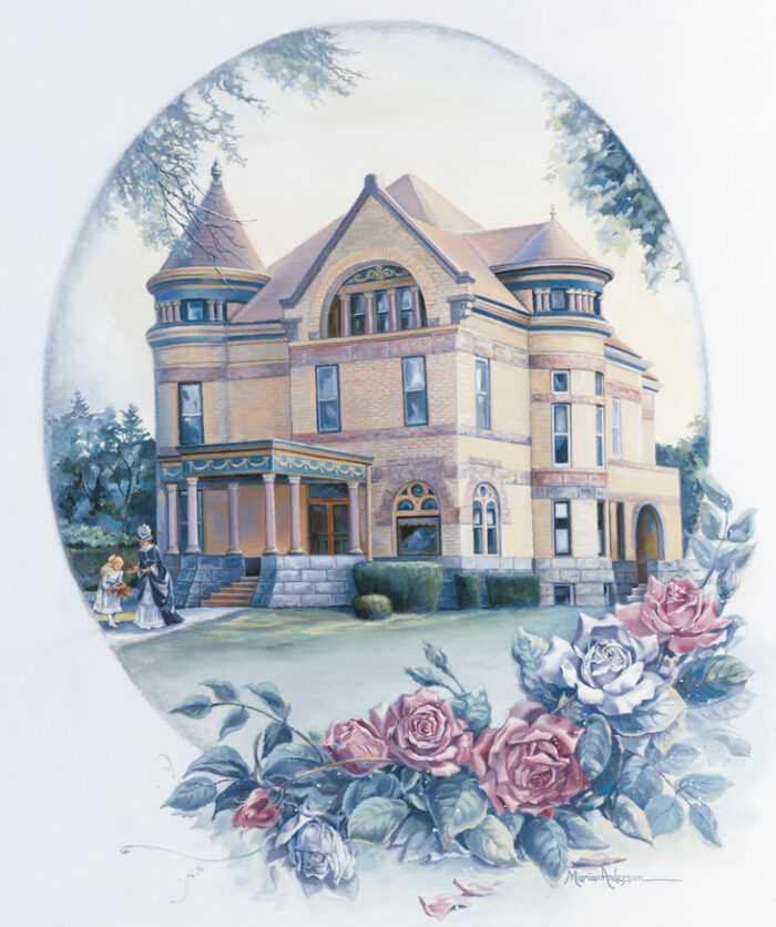 Cherished Memories by Marian Anderson features the Cray House, the home of Judge Loren Cray and later the Mankato YWCA