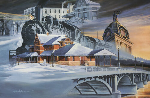 Snowy montage of Mankato's past in Partners in Progress by artist Marian Anderson
