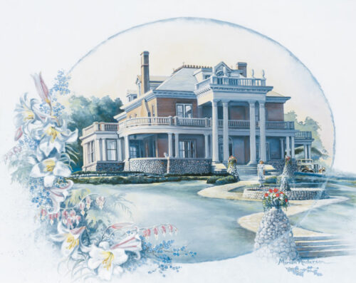 Print of Time Remembered by Marian Anderson shows the Schmidt Mansion, later the YMCA, Mankato, Minnesota