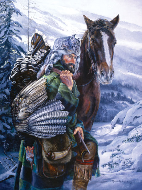 Mountain man and his horse after a successful turkey hunt, #15 in Marian Anderson's NWTF series