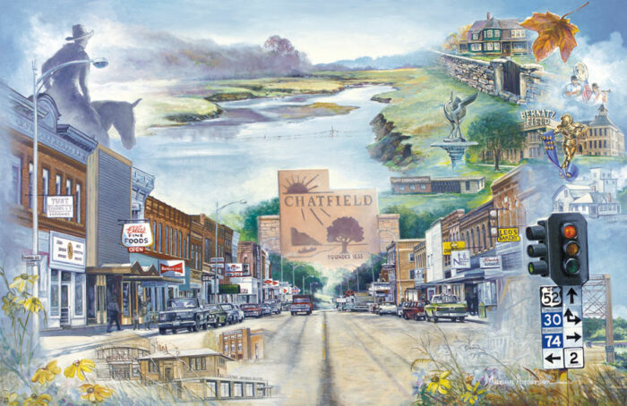 Marian Anderson's Chosen Valley fine art print features the city of Chatfield, Minnesota