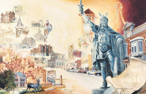 Fine art print, City of Charm and Tradition by Marian Anderson features the history of New Ulm, Minnesota including the statue of Herman the German