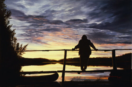 Sunset, a print by Marian Anderson, shows Dorothy Molter on Knife Lake. Dorothy was known as The Root Beer Lady and was the last person to live within the Boundary Waters Canoe Area (BWCA) in Northern Minnesota