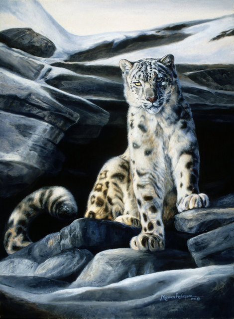 Mysterious Survivor, a print by Marian Anderson, shows a snow leopard atop of rocks.
