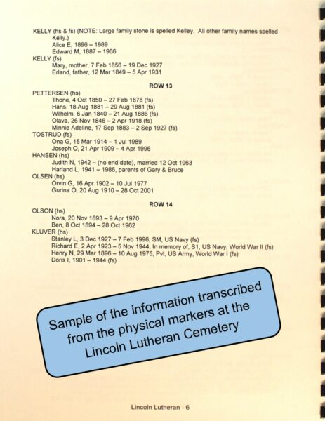 """Sample page from """"Remembering the People"""" Cemetery book series"""