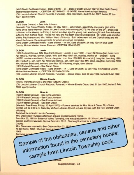 "Sample page from ""Remembering the People"" Cemetery book series"