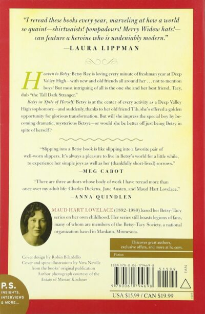 Back cover to Heaven to Betsy and Betsy in Spite of Herself, by Maud Hart Lovelace