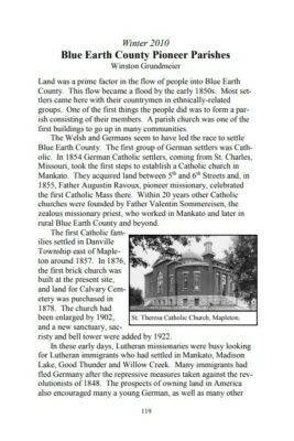 "Preview of The Historian, volume 2. The opening paragraphs to ""Blue Earth County Pioneer Parishes"""