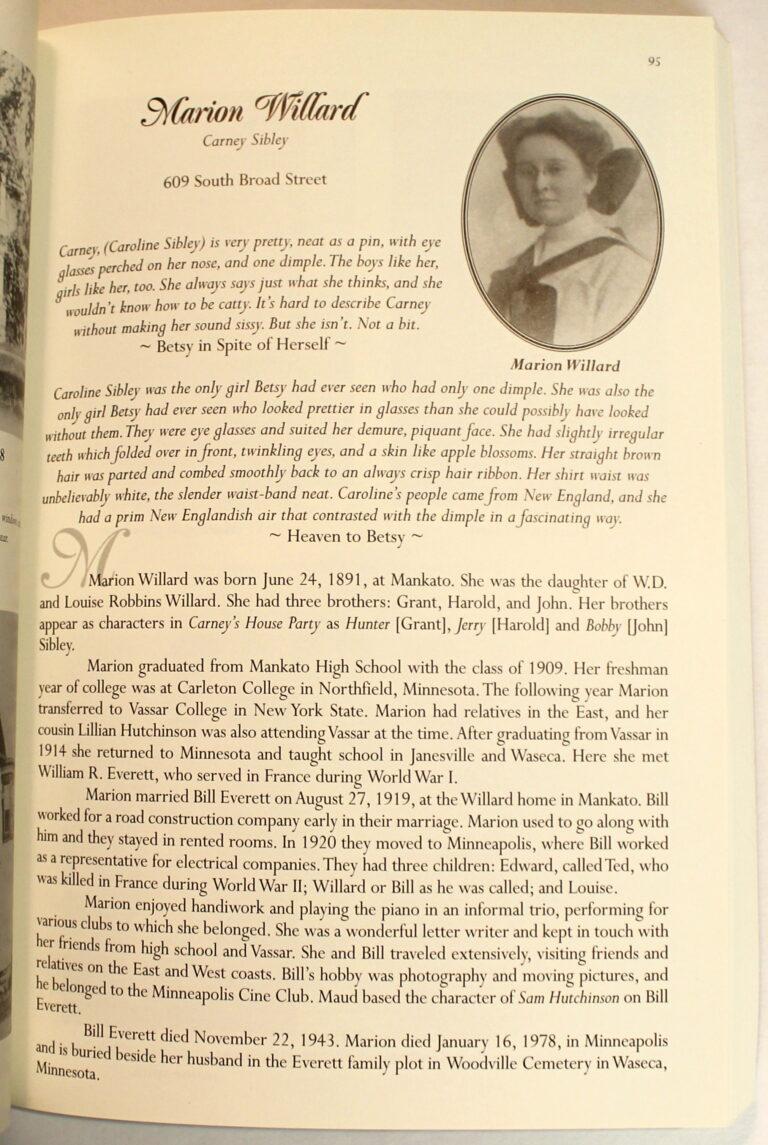 Preview of Maud Hart Lovelace's Deep Valley, Marion Willard