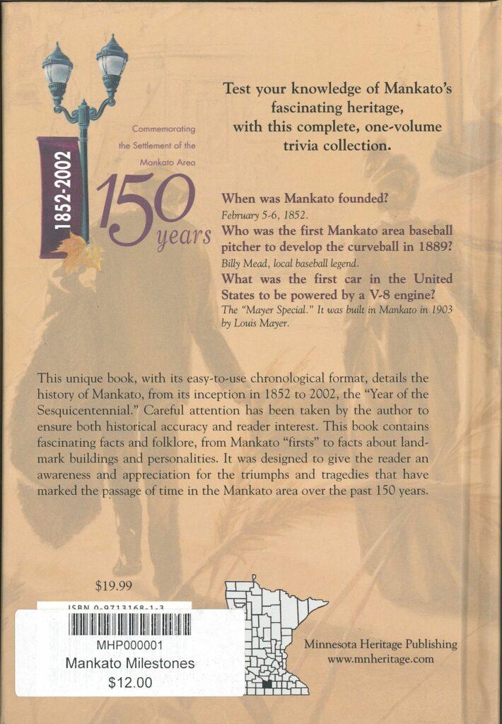 Back cover to Mankato Milestones by Bryce Stenzel