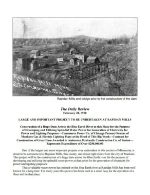 Preview of Rapidan Dam: The Construction of a Landmark, February 28, 1910 newspaper report