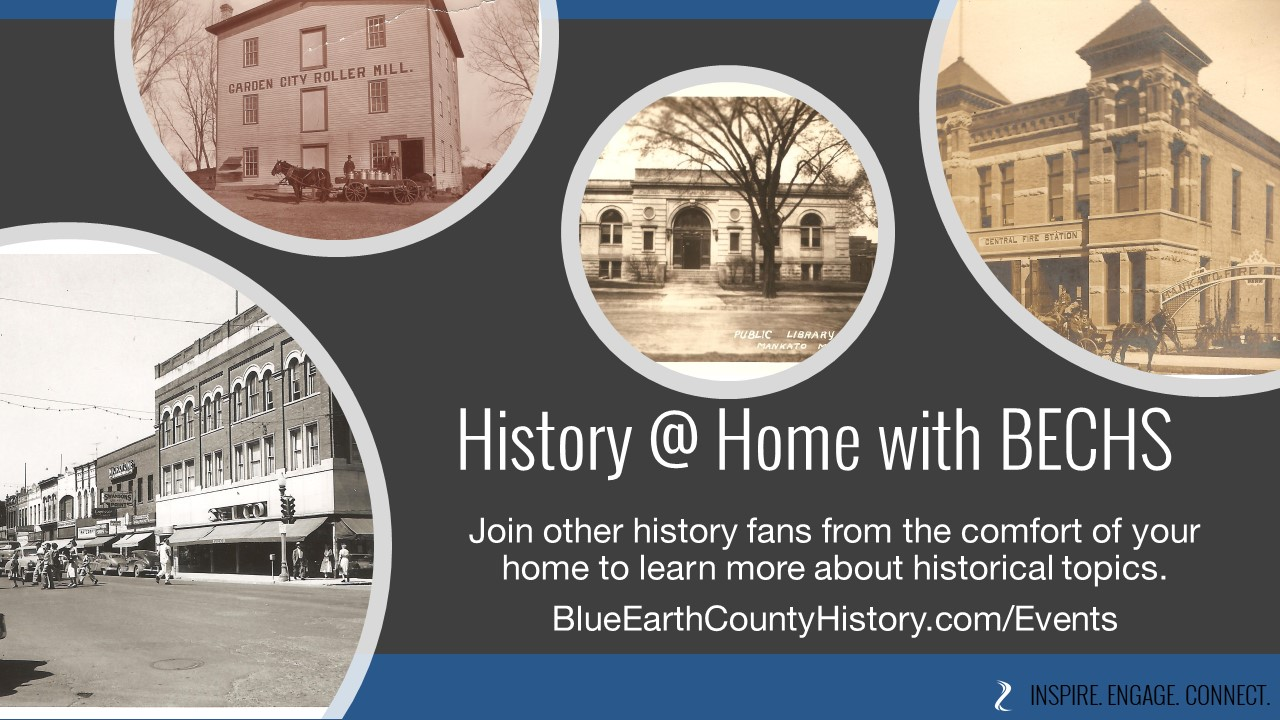 History at Home image with a picture of Front Street, the Carnegie Library, Central Fire Station and the Garden City Roller Mill. Used for all History @ Home Programs at BECHS.