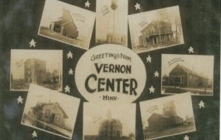 Greetings from Vernon Center postcard with different buildings from around town