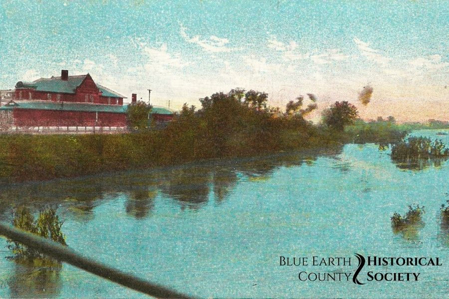 Then and Now MN River Then colorized postcard
