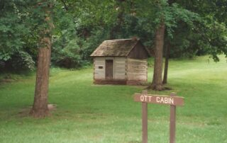 Ott Cabin in Sibley Park. Moved there by the Historical Society in the 1930s