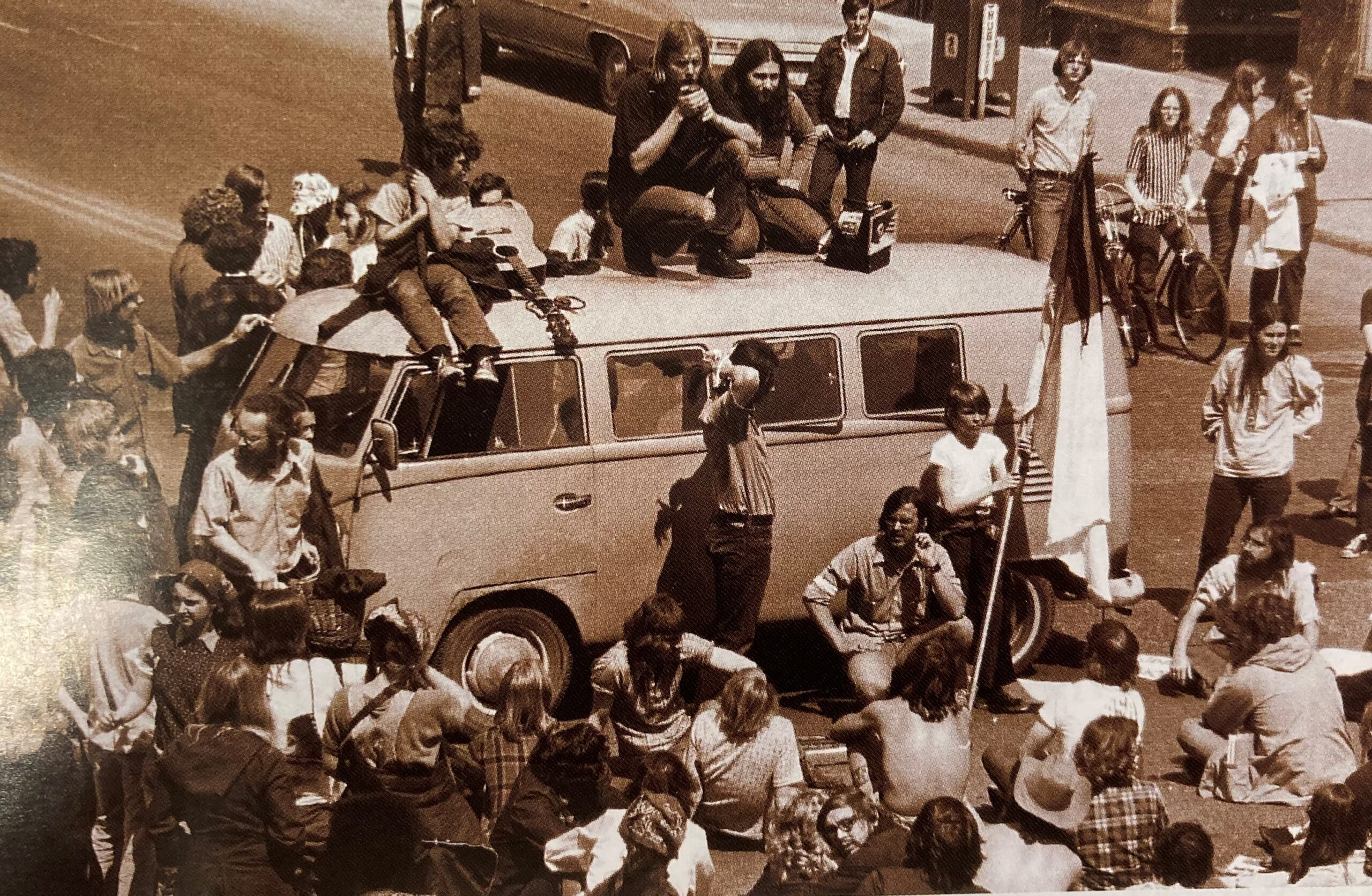 Students protesting on a van from the Today Magazine 2002 issue