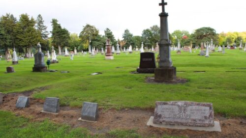 A screenshot of Calvary Cemetery as seen in BECHS Calvary Cemetery Video
