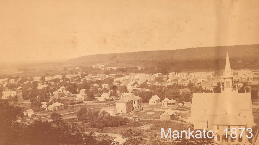 A screenshot of Mankato in 1873 as seen in BECHS Calvary Cemetery Video