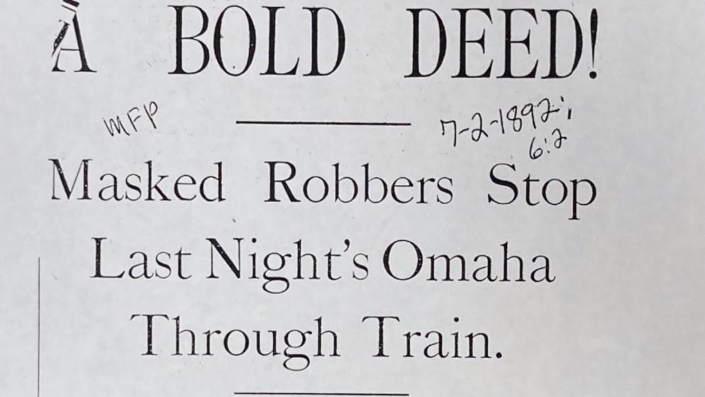 A screenshot Sontag Train Robbery Headline as seen in BECHS Calvary Cemetery Video