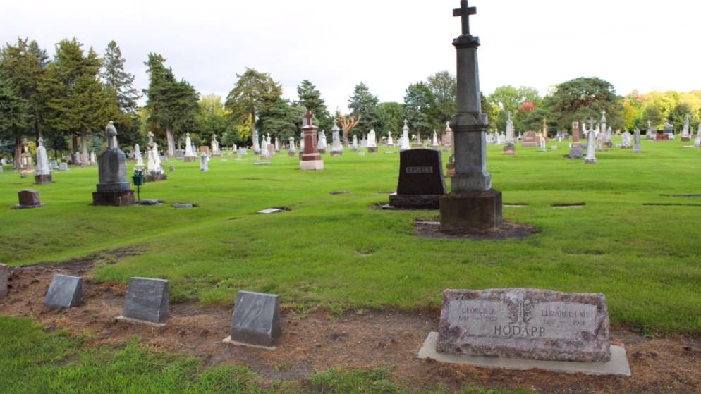 A screenshot of Calvary Cemetery as seen in BECHS Calvary Cemetery Video