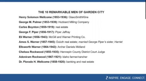 A screenshot of the 10 men featured in The Remarkable Men of Garden City video