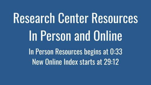 Opening Screen to BECHS Research Center Resources and Online Index Video