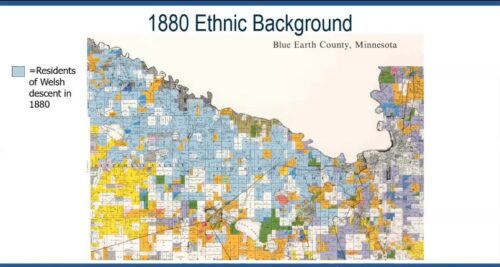 A screenshot of the 1880 Ethnic Background map of Blue Earth County as seen in the History of the Welsh in Southern Minnesota