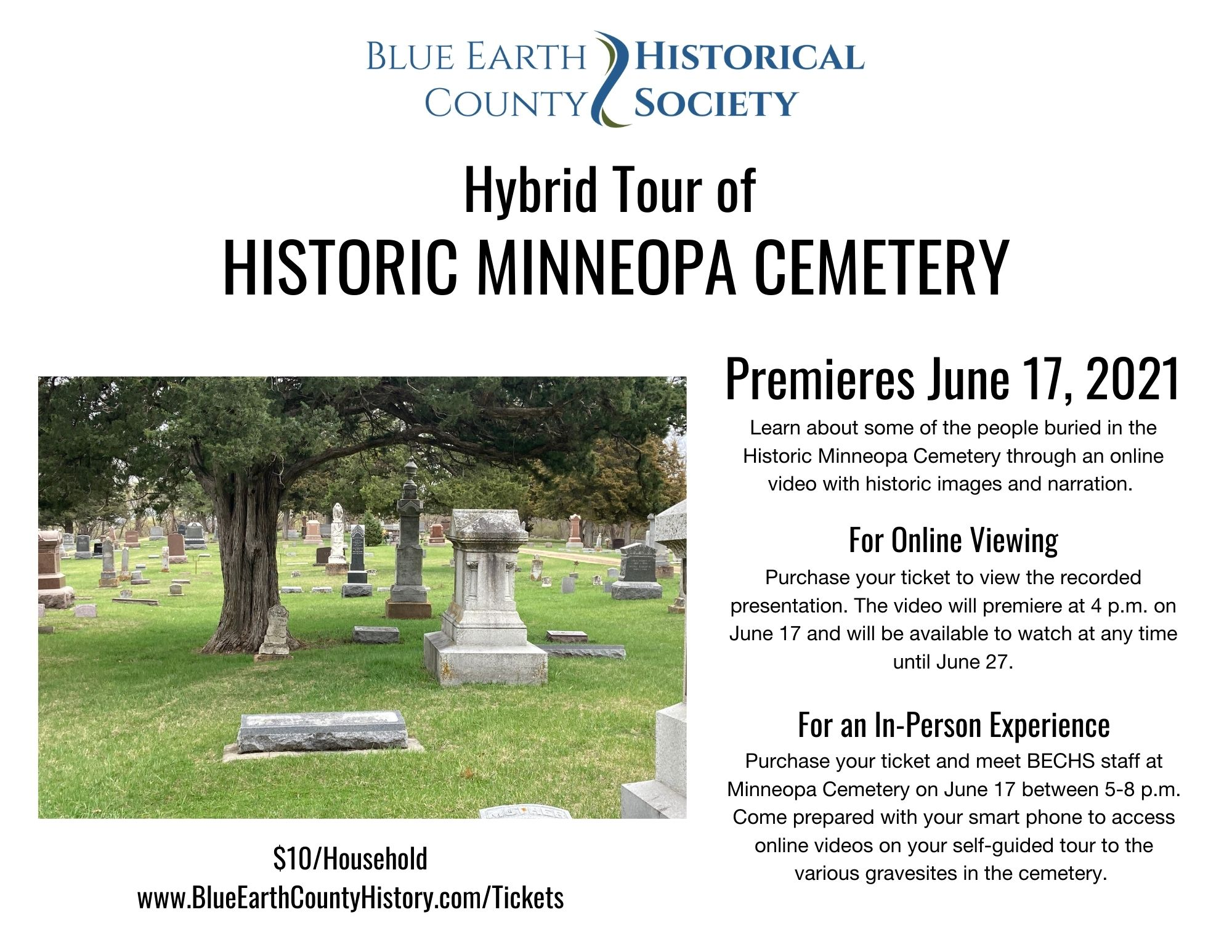 Graphic advertising for the Historic Minneopa Cemetery Tour. See text of event for information.