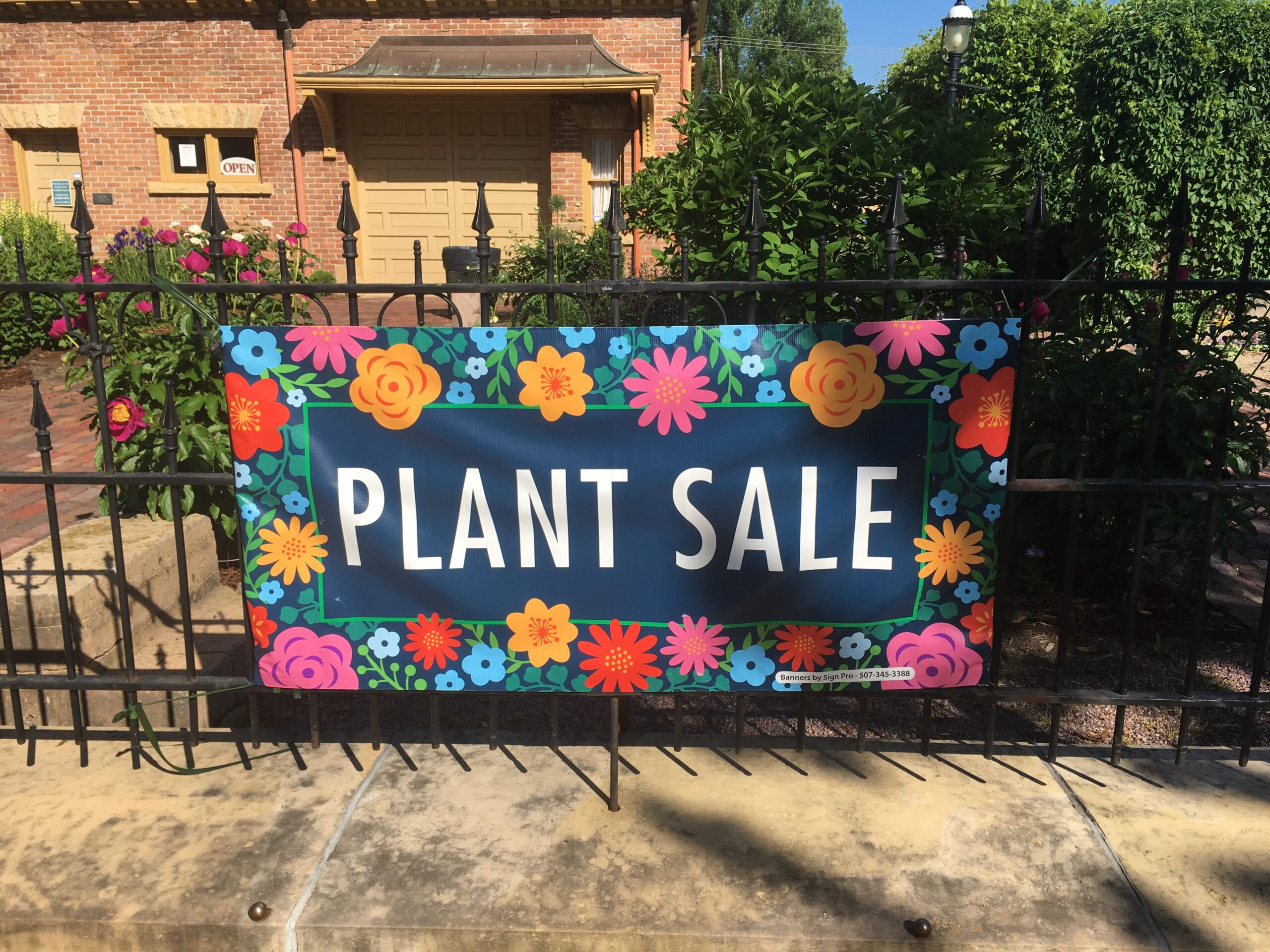 Twilight Garden Club Plant Sale Sign at the Hubbard House