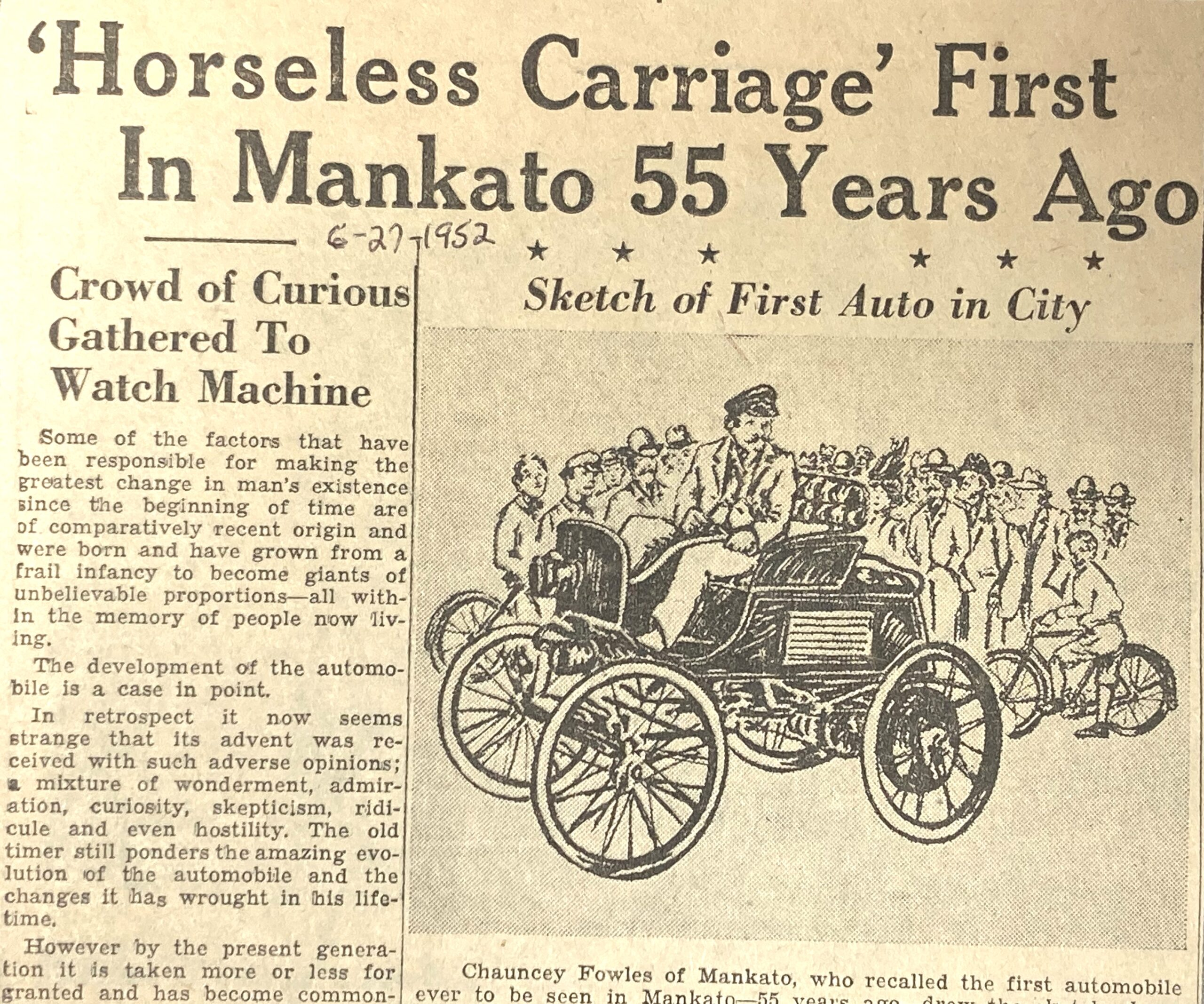 Newspaper Clipping of Clarence Saulpaugh and the first automobile