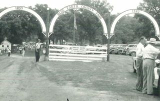 Blue Earth County Fair Gates,, Black and white image