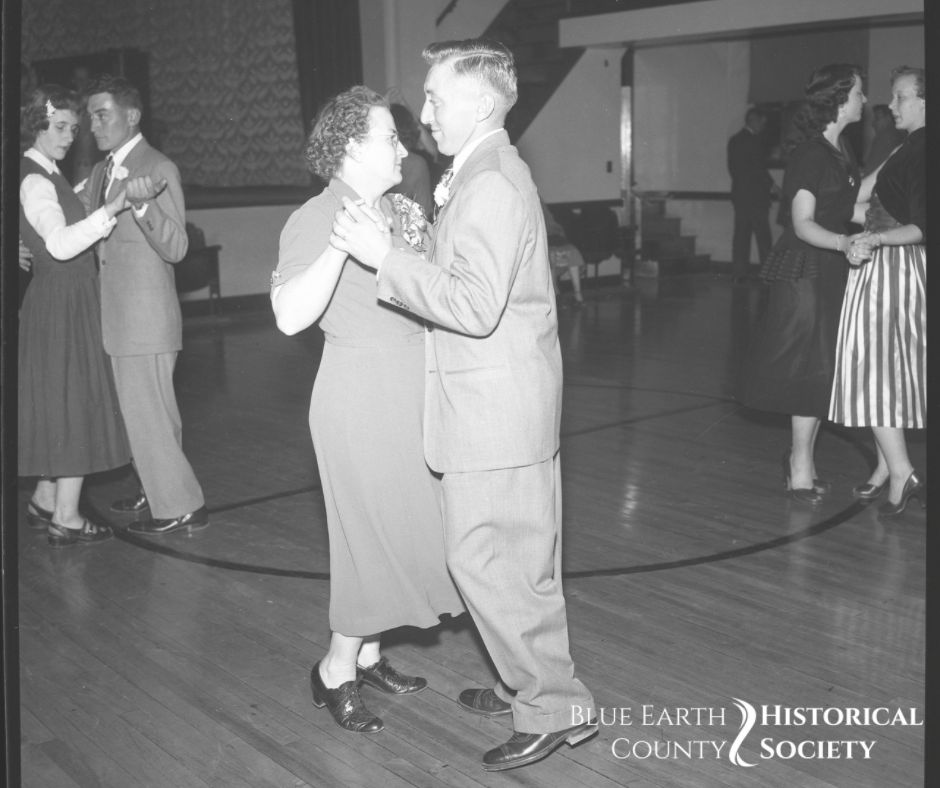 Three couples dancing in the 1940s. Black and White negative image.