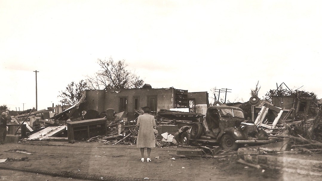 A photo of the aftermath of the Green Gables tornado in rural Blue Earth County, as seen in BECHS' virtual tour of the cemetery