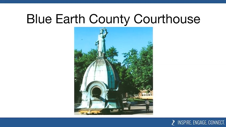 Lady Justice from the top of the Blue Earth County Courthouse is repaired, as seen in the South Fifth Street Virtual Tour presented by BECHS