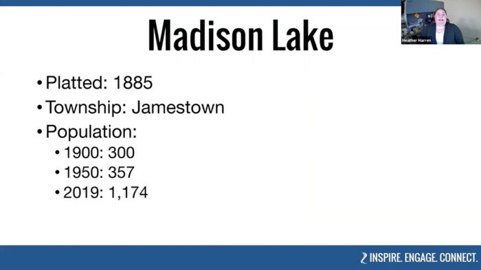 Some of the facts about Madison Lake, Minnesota shared as part of BECHS' virtual tour of Eastern Blue Earth County.