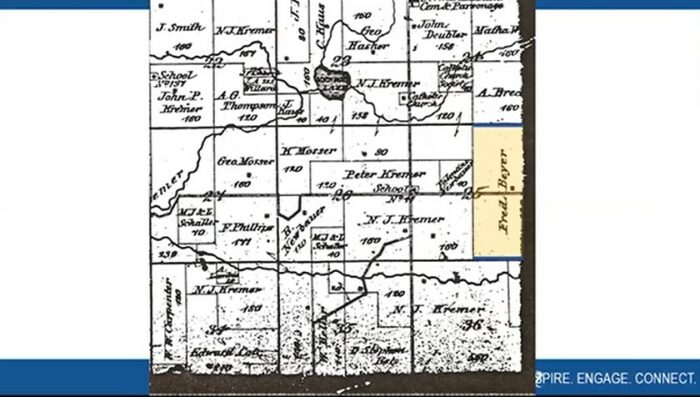 """A portion of a plat map included in BECHS' program """"Researching Your Family Farm"""""""