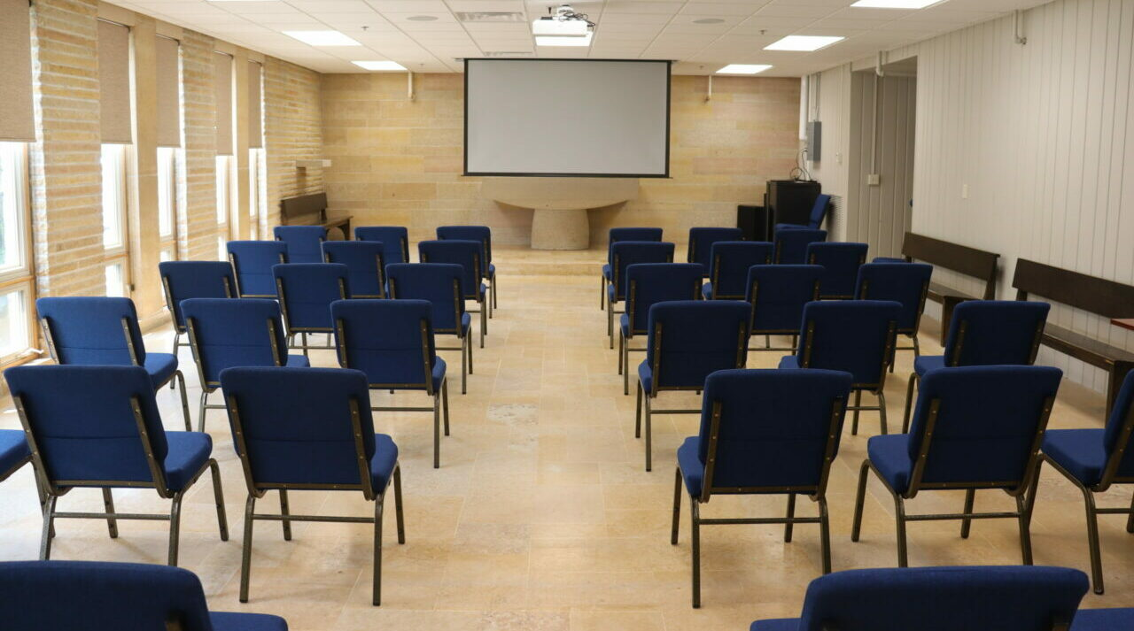 Meeting Room B at the Blue Earth County Historical set up theater style