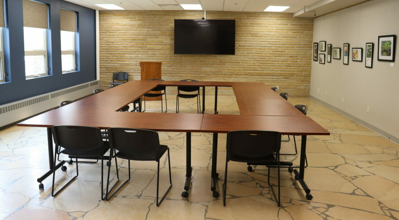 Meeting Room A at the Blue Earth County History Center set board style