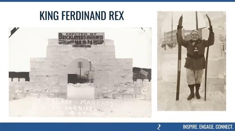 "The 1920 Mankato Winter Carnival including many festivities and royalty including ""King Ferdinand Rex"" of Mankato."