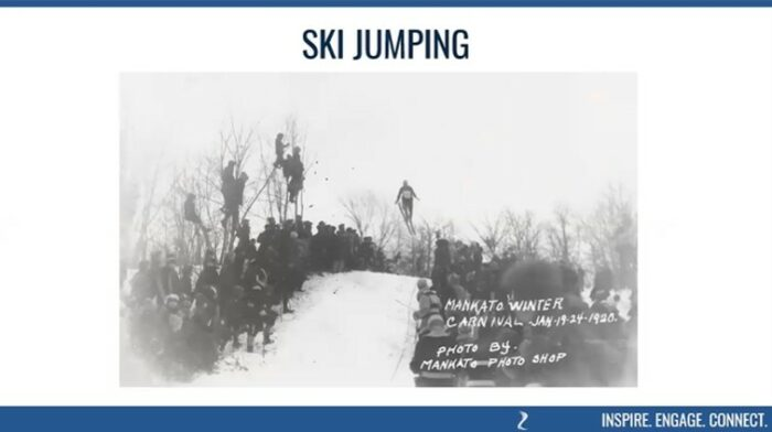 Mankato's 1920 Winter Carnival included many winter activities including a ski jump!