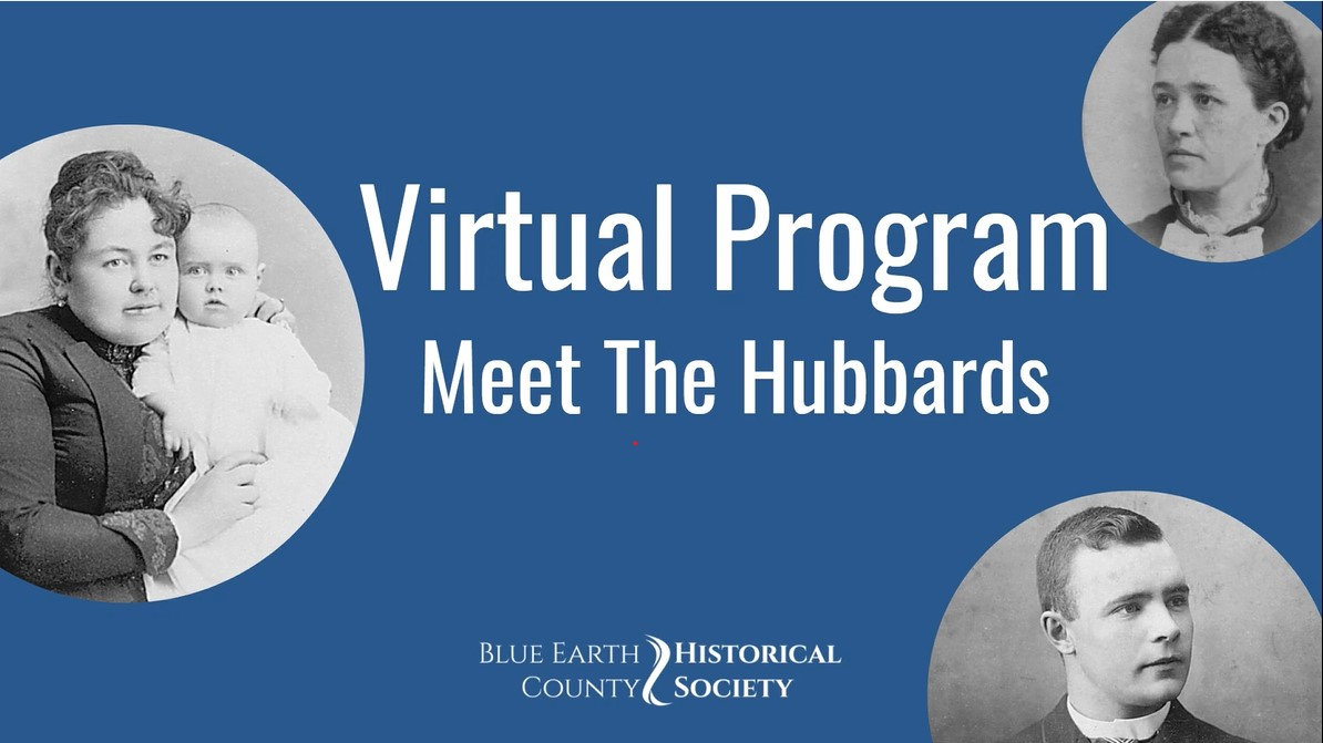 """Meet the Hubbards virtual program opening cover image, includes Mary Esther (Cook) Hubbard, Francis """"Frank"""" (Griffin) Hubbard and Jay Hubbard"""