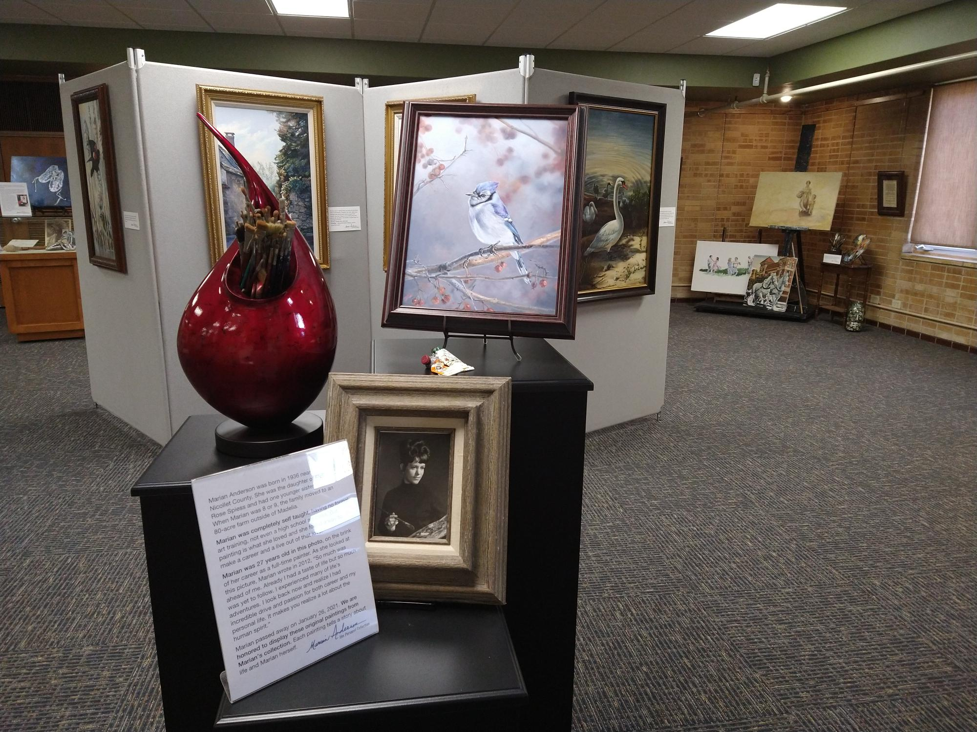 Temporary exhibit space set for Marian Anderson: Her Personal Collection with painting and paint brushes