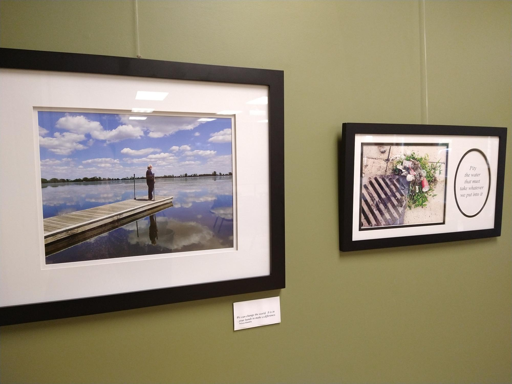 Two images from Kay Herbt Helms' exhibit Pity The Water.
