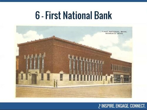 Historic image of the First National Bank in Mankato, Minnesota, part of BECHS' virtual tour of Historic Places.