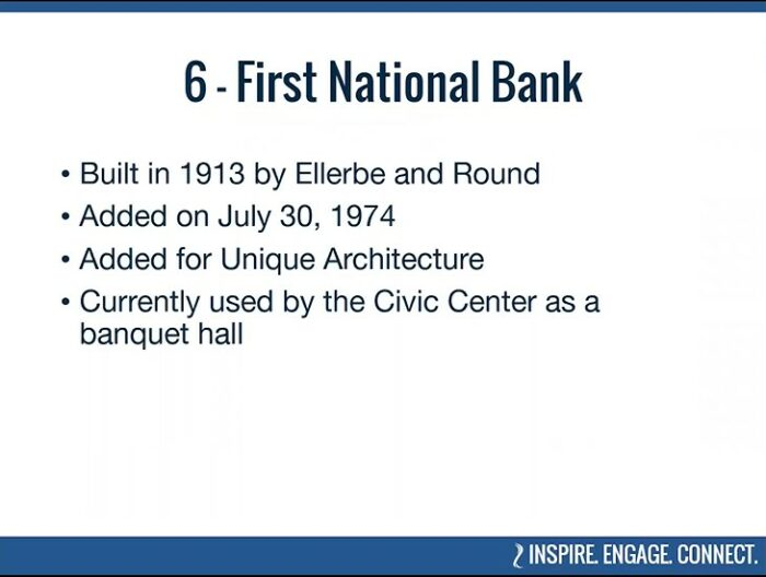 Some facts about Mankato's First National Bank, included in BECHS' virtual tour of Historic Places.