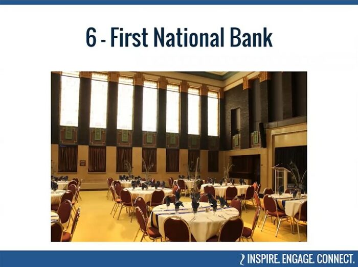 Present-day, interior look at the former First National Bank, Mankato, as seen in BECHS' virtual tour of Historic Places.