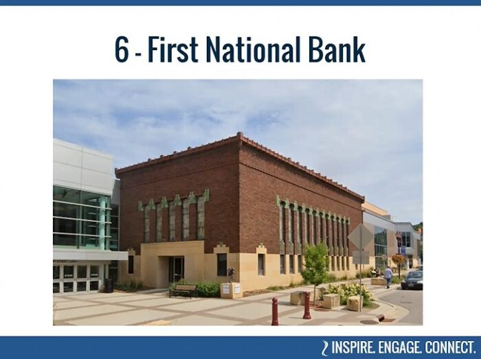 Mankato's First National Bank as seen today and part of the Civic Center, part of BECHS' virtual tour of Historic Places.