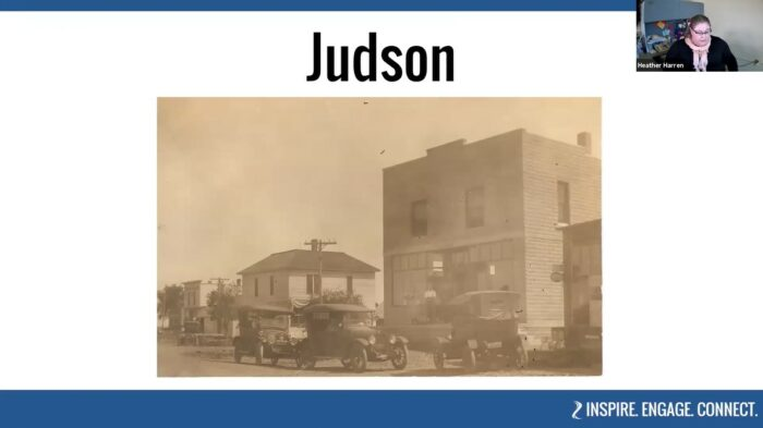Downtown Judson, Minnesota c.1920, part of BECHS' virtual tour of Western Blue Earth County